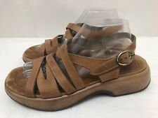 Womens DANSKO Brown Leather Ankle Strap Wedge Heel Sandals SIZE 41 US 10.5/11