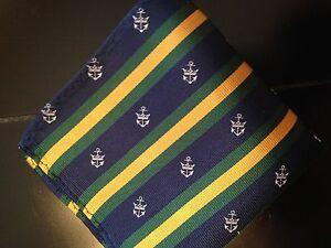 "A little green--10"" 100% Silk Pocket Square Green Navy Gold Nautical Anchors-10"