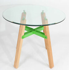 Round Tempered Clear Glass Dining Table in Green Wooden Legs for Kitchen Room