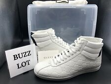 Gucci Men's Classy White Leather High Top Shoes Ships Today Size 8.5