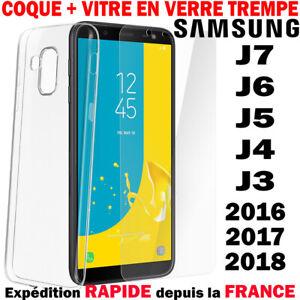 Coque Housse + Verre Trempé Pour Samsung J3 J4 J6 Plus J7 2017 2018 Protection