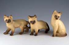Vintage Set of 3 Ceramic Siamese Cat Figurines 3.75 Inch High Made In Japan 1273