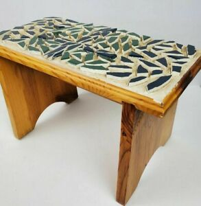 """Vintage Mosaic Tiled ART Solid Wood Hand-Tiled Step Stool 16x8x10"""" Bench"""