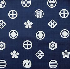 Kamon Crest Navy Japanese Cotton Fabric by Half Metre 50cm Dobby Weave TG128