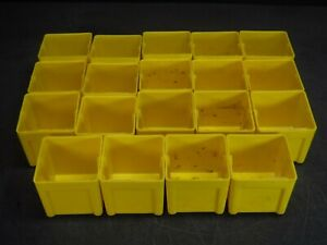 "USED LOT 10 LYON 3"" x 3"" x 3"" Yellow Plastic Box Bin Drawer 333 B"