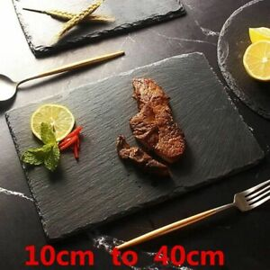 Stone Dish Plate Black for Barbeque Fruit Tray Rectangle Ceramic Kitchen Use