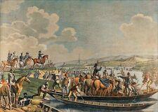 PASSAGE du RHIN par les PRUSSIENS en 1792 - Gravure Gd.Format en couleur