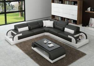 Modern Large LEATHER SOFA Corner Suite NEW  Black Modular Grey White L Shape