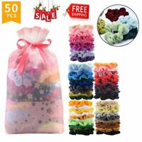 50Pcs Premium Velvet Hair Scrunchies  Elastic Hair Bands Scrunchy Hair Ties Rope