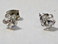 Vintage Tiny Clear Rhinestones & Silver Tone Flowers Pierced Post Earrings