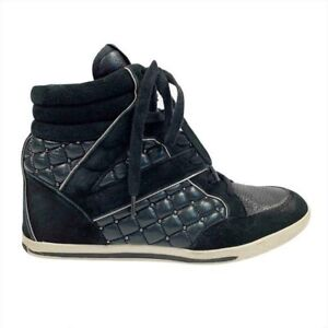Vince Camuto Follie Black Leather Suede Studded High Top Sneakers Women's 7.5
