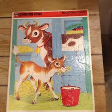 Vintage 1968 Rainbow Works Contented Cows #75908-4 Frame Tray Puzzle GC