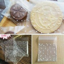 100pc Plastic Dot Transparent Candy Cookie Gift Bag Self Adhesive Cellophane Bag