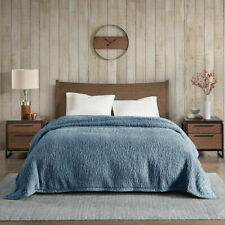 Woolrich Burlington Berber Sherpa Blanket Blue Size Twin Soft Cozy