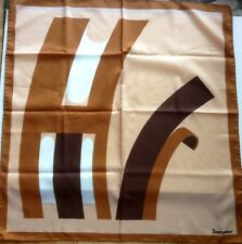 rare Jacqmar made in Italy 1960s polyester scarf bold brown tan beige geometric