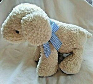 Carter's Cream Tan Puppy Dog Plush Animal Rattle Blue Checked Bow Striped Ears