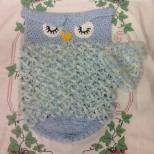 Handmade Crochet Owl Baby Cocoon with Hat for Baby Boy