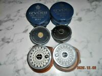RYOBI GILFIN 444 FLY REELS  2 REELS WITH TWO SPARE SPOOLS AND CASES MADE JAPAN