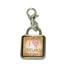 I Heart Love Ireland Vintage Dangling Bracelet Pendant Square Charm