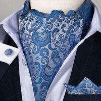 Mens Cravat Blue Paisley Ascot Scarf Silk Cravat Tie Pocket Square Cufflinks Set