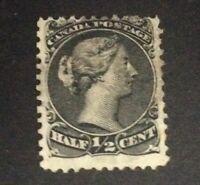 Canada 1868-90 QV SG 46 1/2c Black Fine Used Thin/transparent Paper
