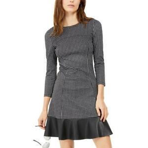 MICHAEL Michael Kors Womens Check Print Faux Leather Trim Mini Dress BHFO 0329