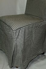 Skirted Side DINING CHAIR Slipcover COVER GRAY WHITE Plaid Checks COTTON Canvas