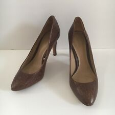 Massimo Dutti Brown Leather Snakeskin Shoes Pumps Size EU 38 US 7.5 - 8