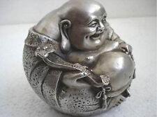Belle statue en argent tibétain du Bouddha riant  Statue