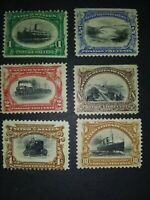 #294 - #299 USA STAMPS,#294,295 ,297 MINT HINGED WITH GUM, #296 ,299 NO GUM