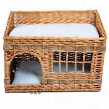 Caldo IN VIMINI GATTO DEN-Pet Bed Cesto Grotta per dormire GATTINO HOUSE CASA cuscino per cani