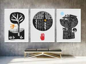 Abstract Black and White Graphic Mid Century Retro Artwork Modern Poster - 3 Set