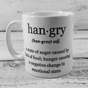 NEW HANGRY DEFINITION GIFT MUG CUP PRESENT HUNGRY ANGRY NOVELTY FUN SECRET SANTA