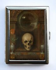 Vanitas Still Life Skull Cigarette Case Wallet Business Card Holder flowers
