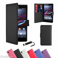 WALLET LEATHER CASE COVER FOR Sony Xperia M SCREEN PROTECTOR