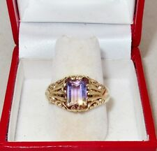 Antique 9K Gold Ring with 8.5mm Yellow & Purple Bi-Color Ametrine (5.6g, size 9)