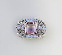 27394 Opal Amethyst Brosche Art deco 925er Silber