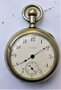 NO RESERVE 1910 Elgin Pocket Watch Vintage Antique