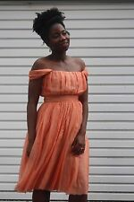 ALO'NUKO Midi Chiffon Dress - Orange Bridesmaid Dress, perfect condition