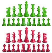 Staunton Triple Weighted Chess Pieces – Full Set 34 Neon Green & Red- 4 Queens