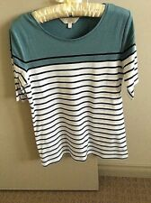 CAPTURE STRIPED TOP WASHED AQUA/ BLACK/ WHITE SIZE 8 BRAND NEW WITH TAGS.