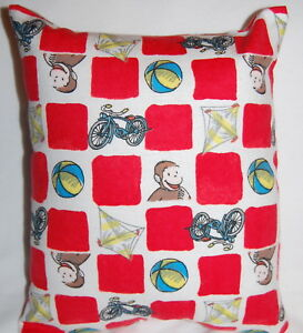 NEW HANDMADE CURIOUS  GEORGE FLANNEL  TODDLER/ DAYCARE / TRAVEL PILLOW