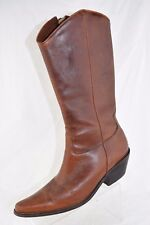 Matisse Brown Leather Tooled Western Pointed Toe Zip Up Cowboy Boots Women's 5.5