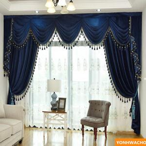 Luxury European blue thick Italian velvet cloth blackout curtain valance N948