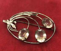 Vintage Sterling Silver Brooch Pin 925 1950s Rhinestone Flower Modernist Oval