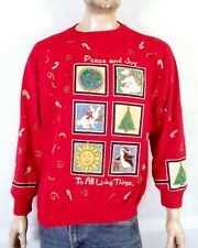 vtg 80s BUSY Puffy Paint X-Mas Sweatshirt Ugly Christmas Sweater Party sz XL