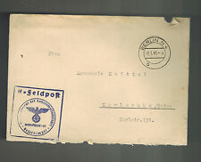 1941 Germany Concentration Camp Inspector Cover KZ Waffen SS Feldpost w letter