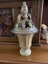 Gold Filigree Fancy Metal Covered Vase Filigree Ormolu Decorative Urn