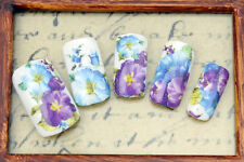 Blue & Purple One Stroke Flowers Water Transfers Nail Art Decals Decoration