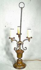 MID CENTURY FRENCH STYLE 3 ARM BOUILLOTTE BRASS LAMP ON AN URN BASE